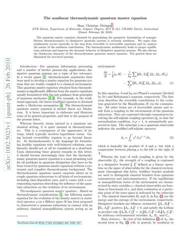 Hans Christian Öttinger - The nonlinear thermodynamic quantum master equation