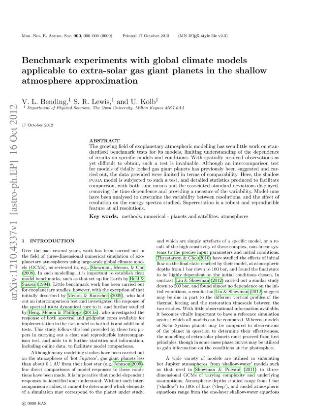 V. L. Bending - Benchmark experiments with global climate models applicable to extra-solar gas giant planets in the shallow atmosphere approximation