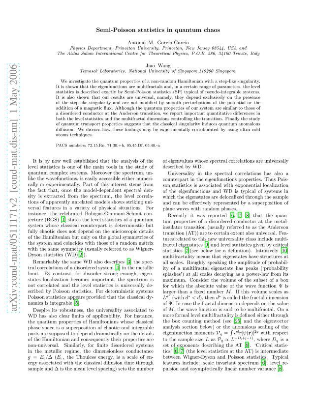 Antonio M. Garcia-Garcia - Semi-Poisson statistics in quantum chaos