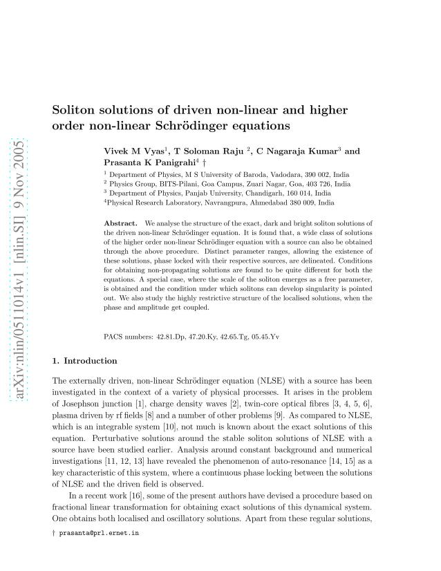 Vivek M Vyas - Soliton solutions of driven non-linear and higher order non-linear Schrödinger equations